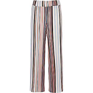 Oranje gestreepte plissé broek met wijde pijpen voor meisjes