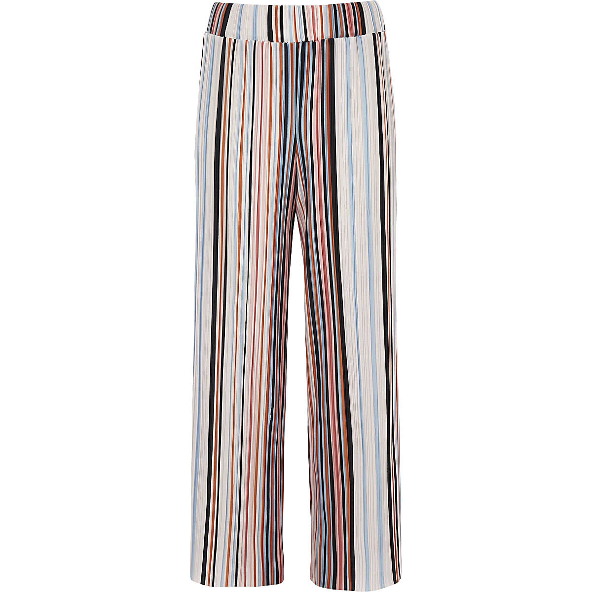 Girls orange stripe plisse wide leg pants