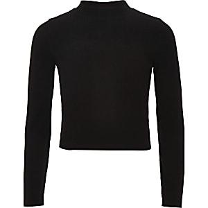 Girls black ribbed long sleeve top