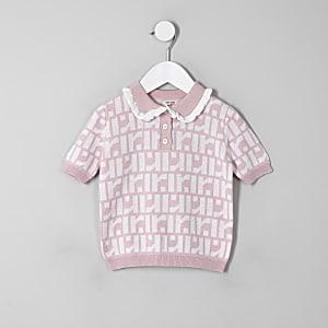 Polo rose à logo RI mini fille