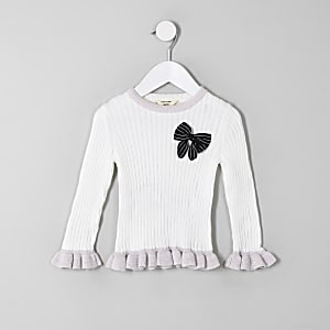 Mini girls cream bow frill sweater