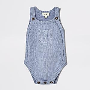 Baby blue knitted sleeveless romper