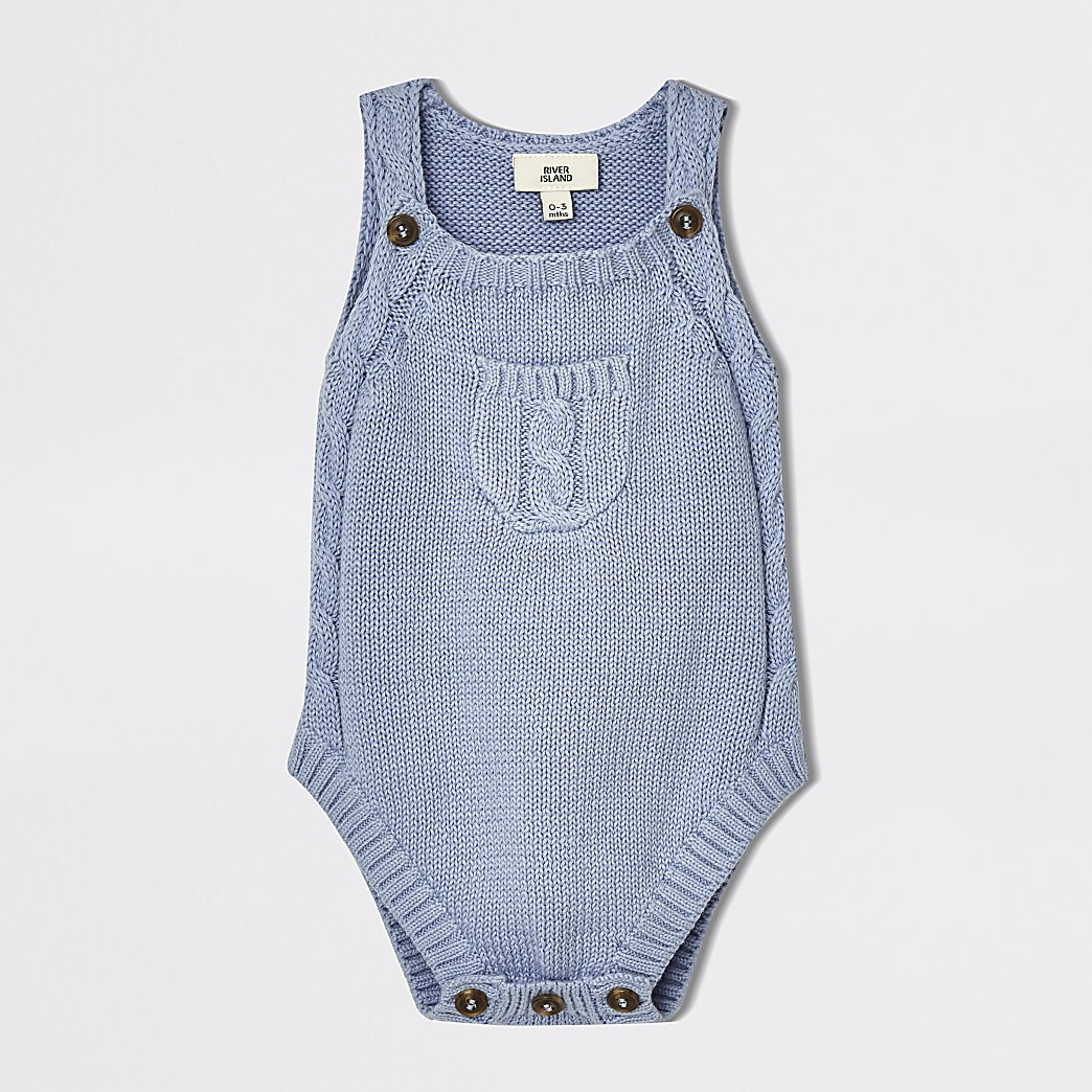 Baby blue knitted sleeveless romper