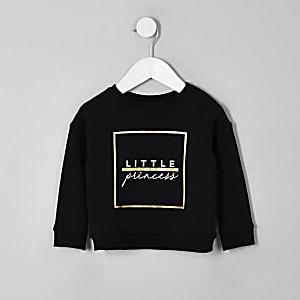 Mini girls black 'Little princess' sweatshirt