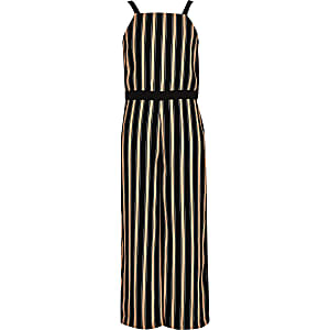 Girls black stripe jumpsuit