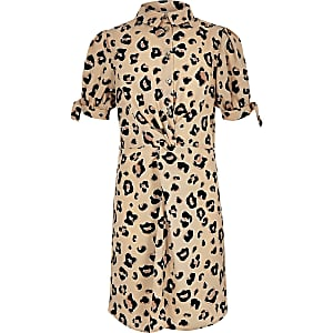 Girls brown leopard print knot shirt dress