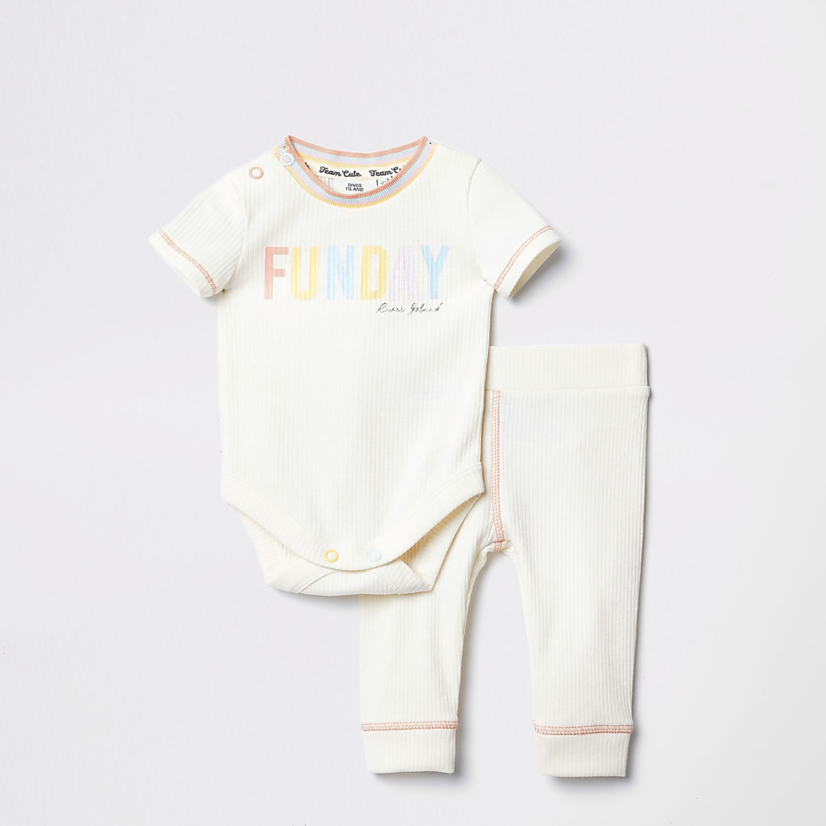 Baby cream rainbow jogger outfit