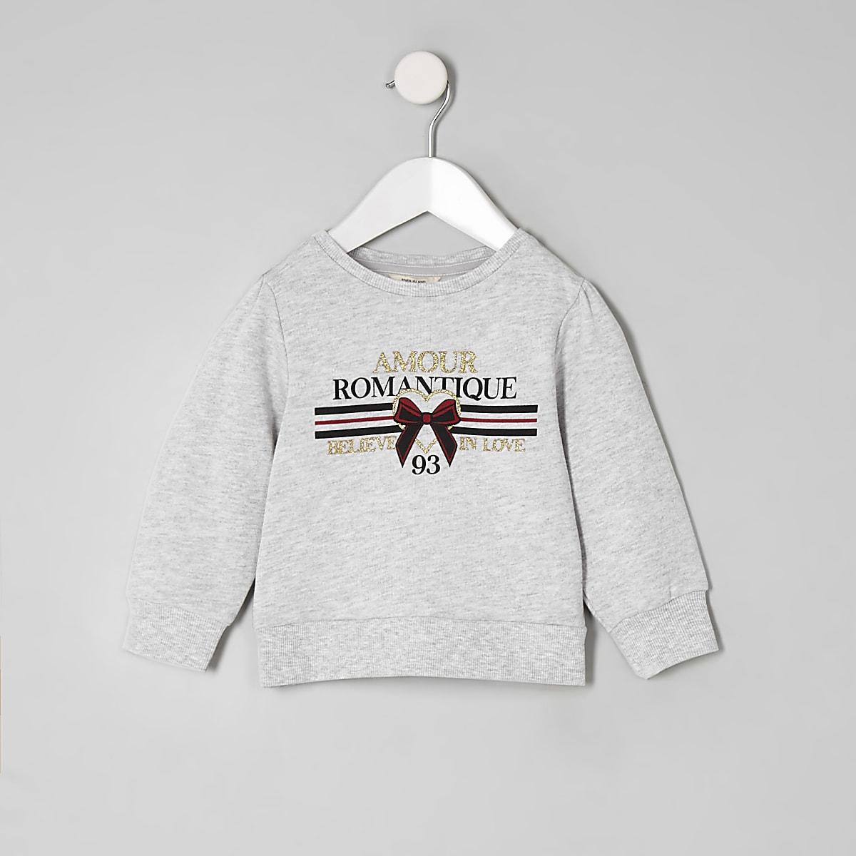 Mini girls grey 'Amour' sweatshirt