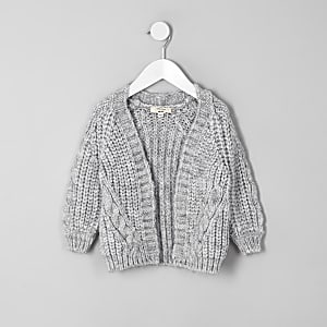 Mini girls grey chunky knit cardigan