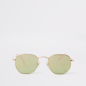 Roségoldene, sechseckige Retro-Sonnenbrille