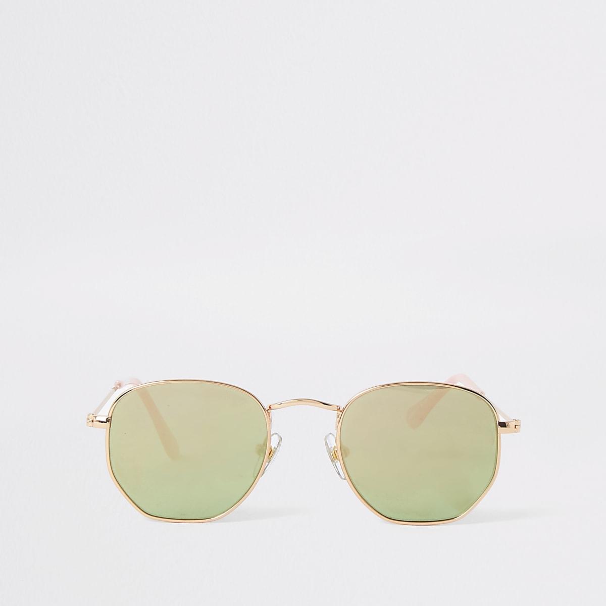 Girls rose gold tone hexagon retro sunglasses