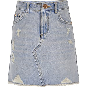 Girls blue ripped denim skirt