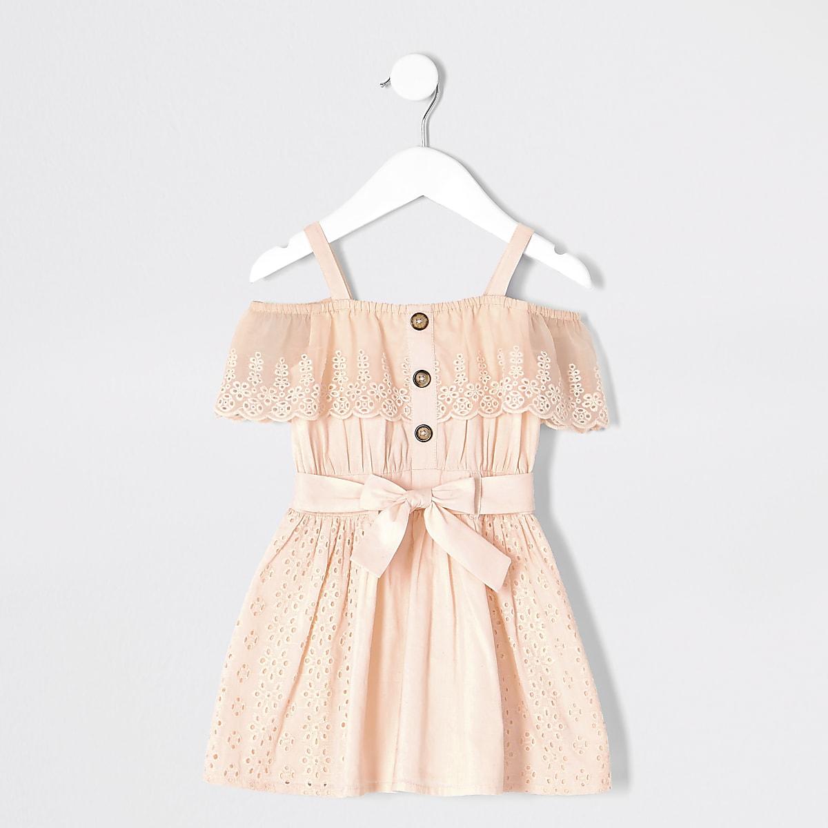 Mini girls pink bardot broiderie dress