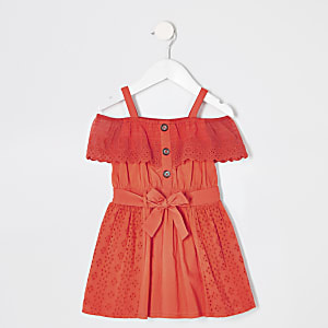 Mini girls red bardot broderie dress