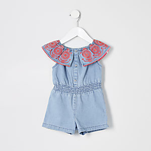 Blauwe denim playsuit voor mini girls