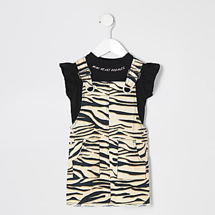 Mini girls brown zebra 2 in 1 pinafore dress