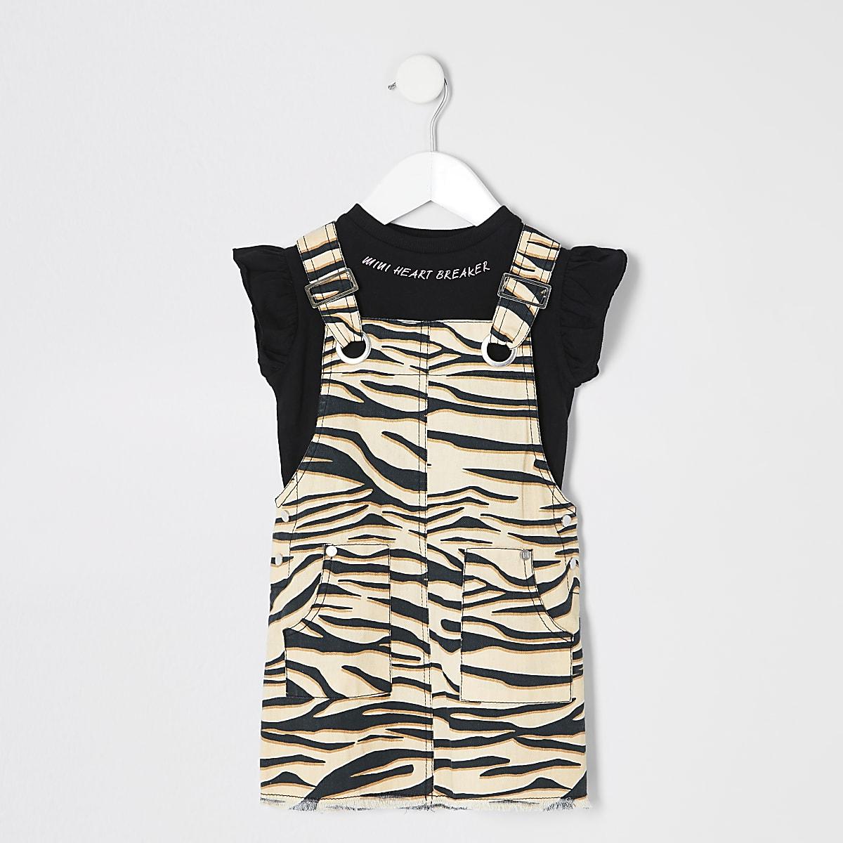 Mini girls brown zebra 2 in 1 pinafore dress