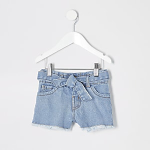 Mini girls blue Mom paperbag denim shorts