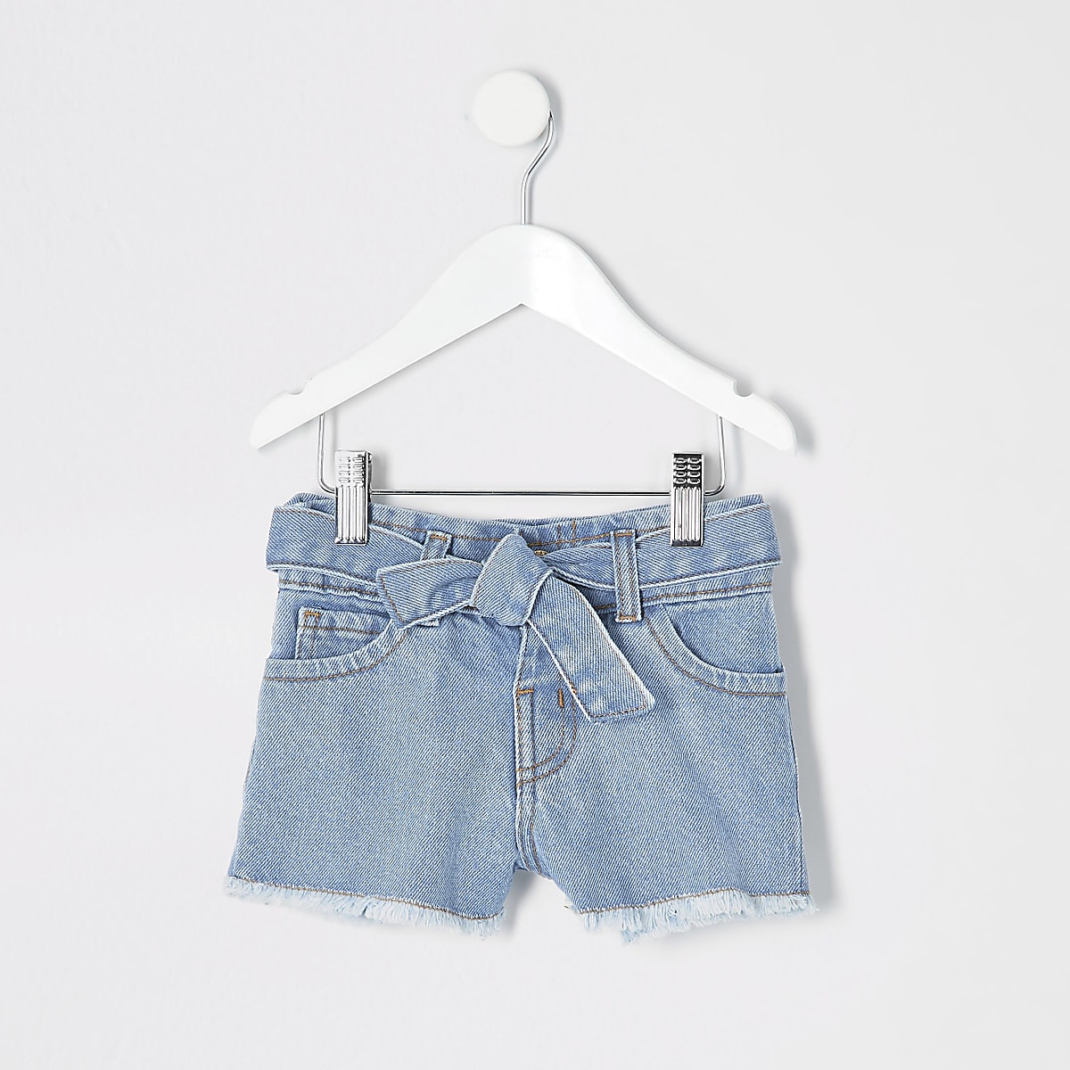 Mini girls blue Mom paperbag denim shorts