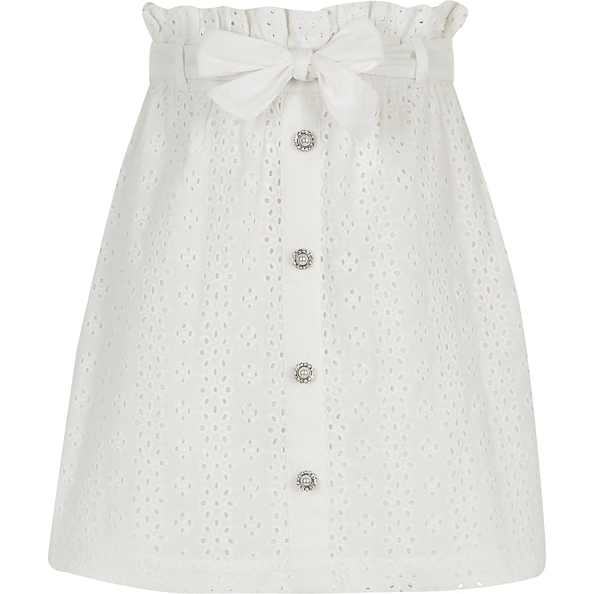 Girls white broidery A line skirt