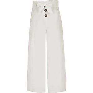 Girls white broidery wide leg trousers