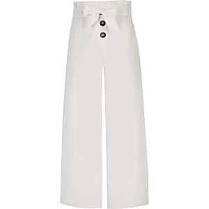 Pantalon large blanc brodé pour fille
