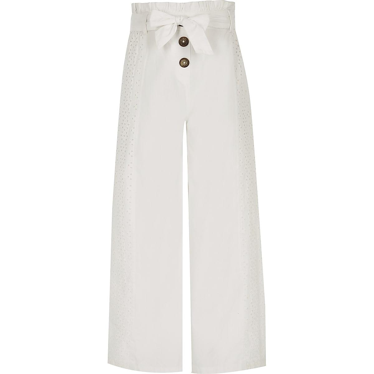 Girls white broidery wide leg pants