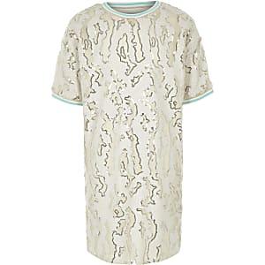 Crème T-shirtjurk met pailletten voor meisjes