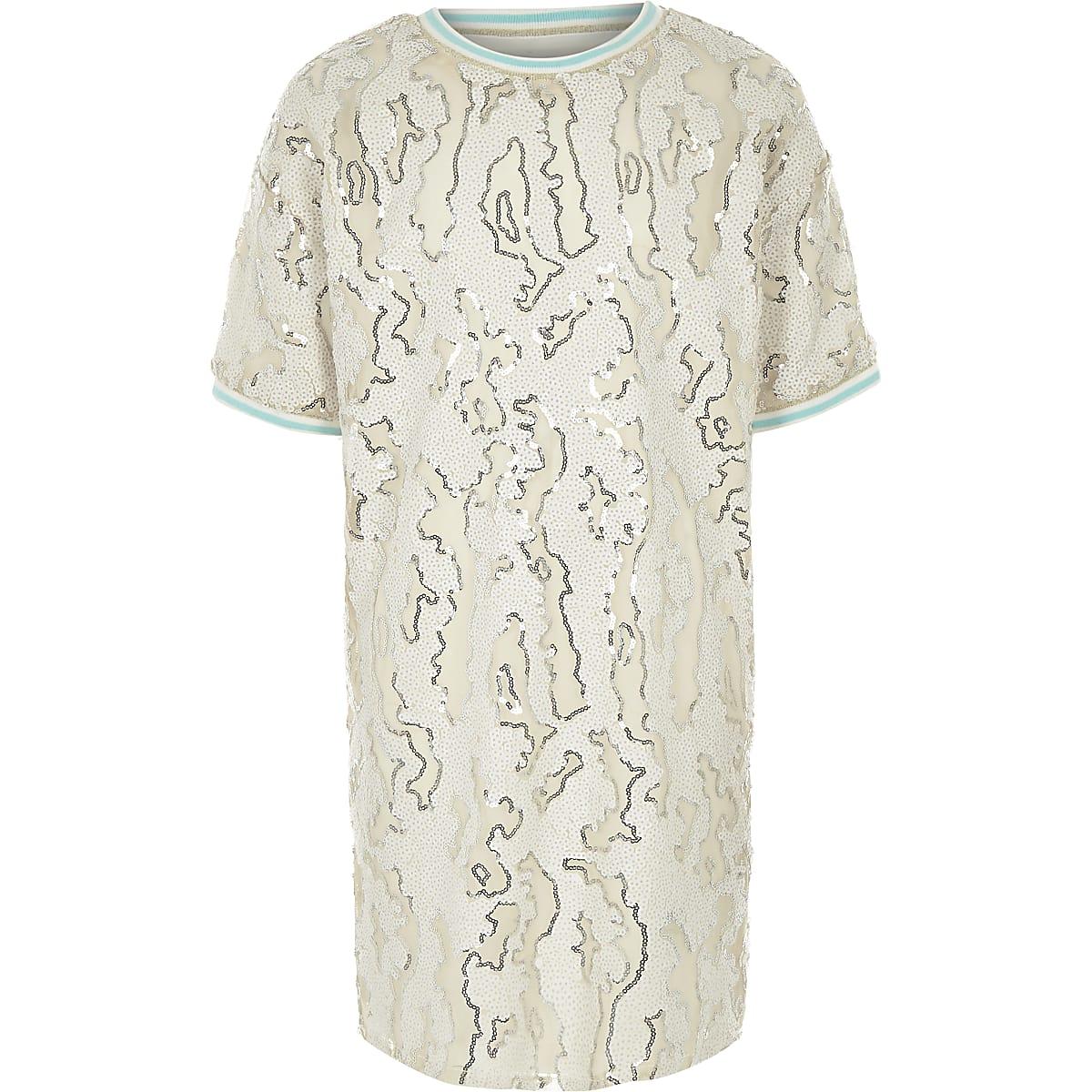 Girls cream sequin T-shirt dress