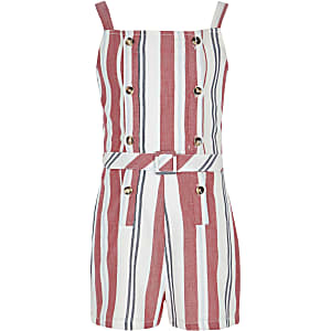 Girls red stripe pinafore romper
