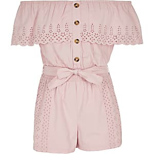 Girls pink broidery bardot frill playsuit