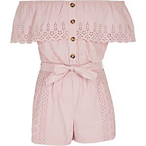Girls pink broidery bardot frill romper