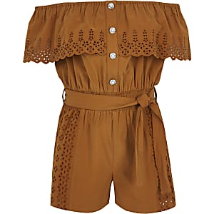Girls brown broderie bardot playsuit