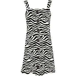 Weißes Trägerkleid mit Zebraprint