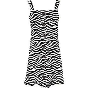 Girls white zebra print pinafore dress