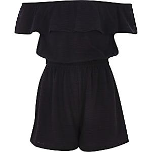 Combi-short Bardot noir à volants pour fille