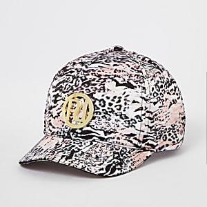 Casquette RI imprimé léopard rose pour fille