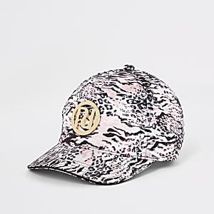 Pinke Kappe mit Leoparden-Print