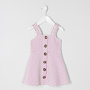 Mini girls check pink pinafore dress