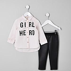 Mini girls pink 'Girl hero' shirt outfit