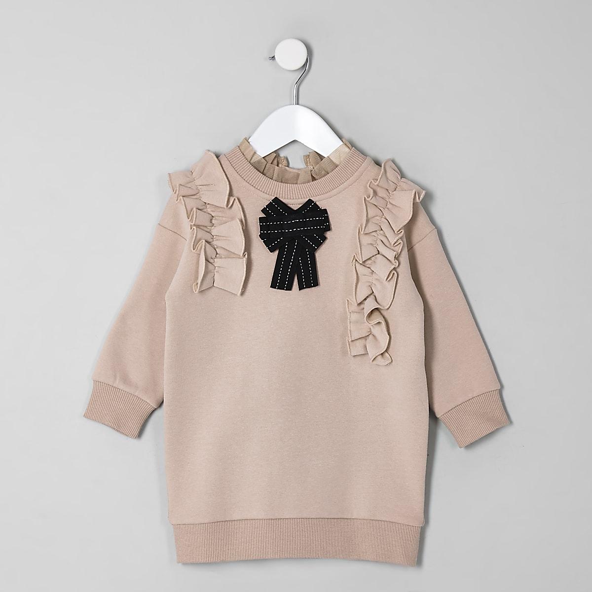 Mini girls brown bow jumper dress