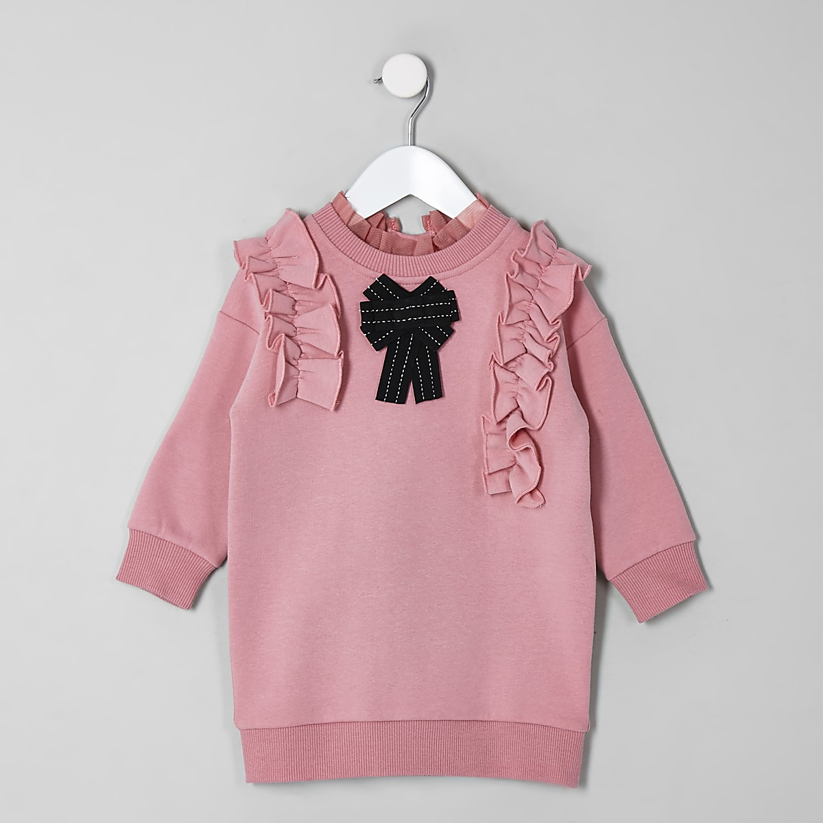 Mini girls pink bow jumper dress