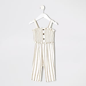 Mini girls cream stripe jumpsuit