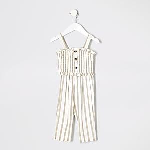 Mini - Crème gestreepte jumpsuit voor meisjes