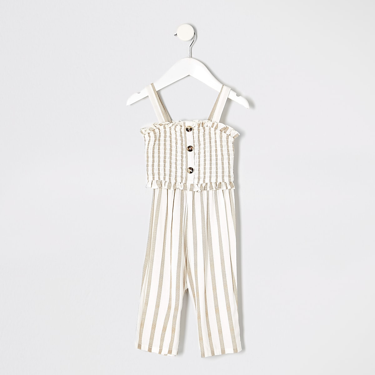 Mini girls cream stripe jumpsuit