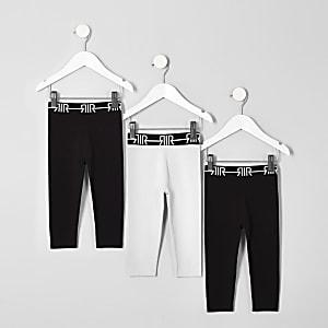 Mini - Multipack leggings met tailleband met RI-logo voor meisjes