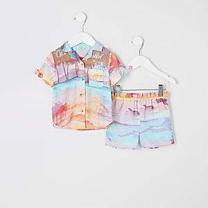 Mini - Roze overhemdoutfit met 'Cali dreamer'-print voor meisjes