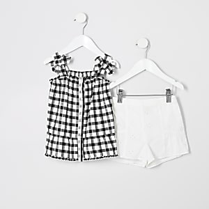 Mini girls black gingham bow cami top outfit