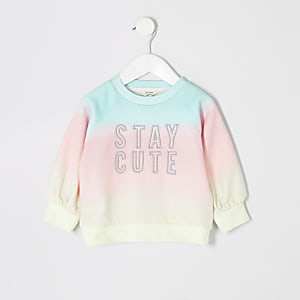 Mini girls blue tie dye sweatshirt