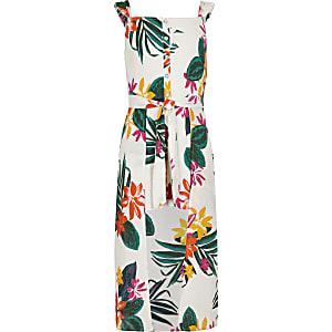 Witte maxi-playsuit met tropische print voor meisjes